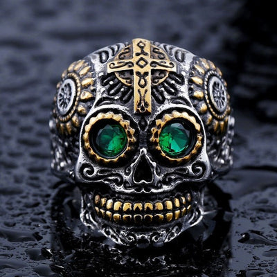 "Item Hunters 8 / green eye / US SIZE ""The Ancient King"" Skull Ring"