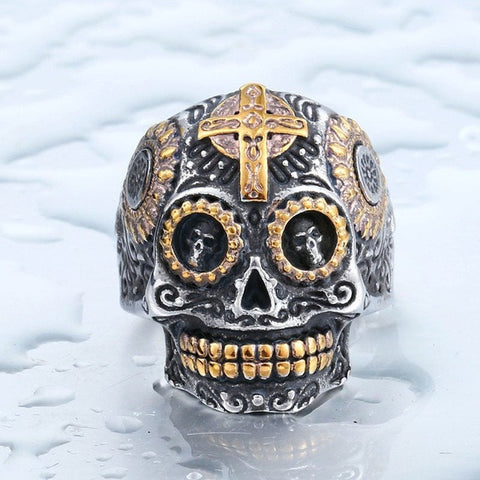 "Item Hunters 8 / part gold colour / US SIZE ""The Ancient King"" Skull Ring"