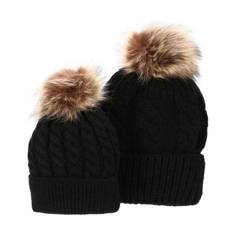 Item Hunters Black (Knitted) / One size Mom & Me Matching Pom Beanies