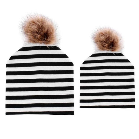 Item Hunters Black & White / One size Mom & Me Matching Pom Beanies