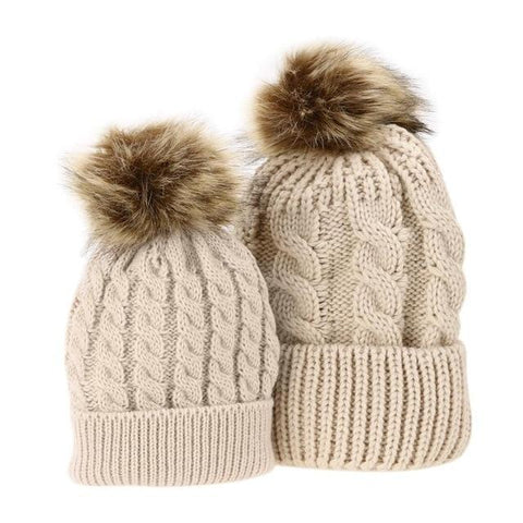 Item Hunters Brown / Brown Mom & Me Matching Pom Beanies