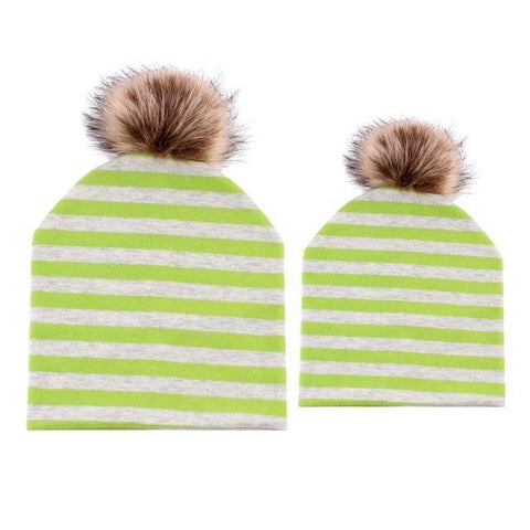 Item Hunters Green & White / One size Mom & Me Matching Pom Beanies
