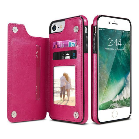 Item Hunters Hot Pink / iPhone 7 & 8 3 in 1 Luxury Leather Case For iPhone