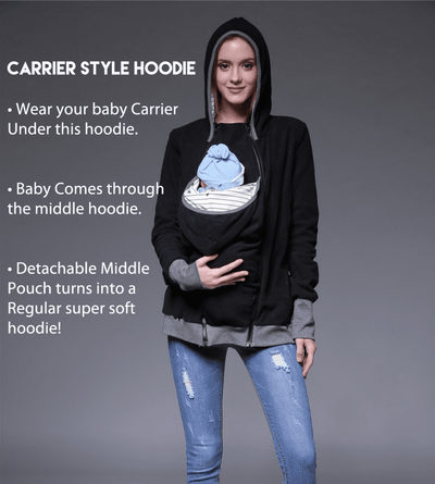 Item Hunters Kangaroo Carrier Hoodie / S / Black Smart Mom - Multi-Function Kangaroo Hoodie