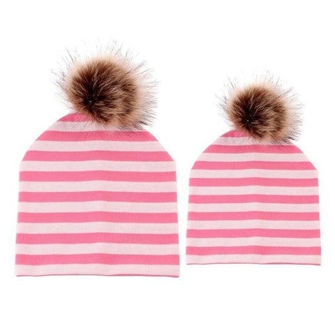 Item Hunters Pink & White / One size Mom & Me Matching Pom Beanies