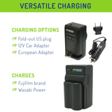 Fujifilm NP-W235 Battery (2-Pack) and Charger by Wasabi Power