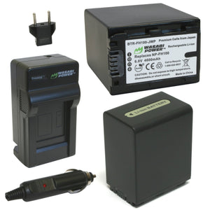 Sony NP-FH100 Battery (2-Pack) and Charger by Wasabi Power
