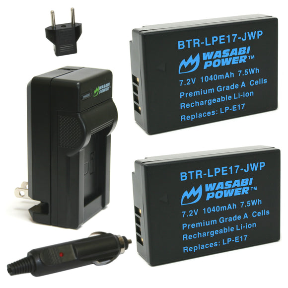Canon LP-E17 Battery (2-Pack) and Charger by Wasabi Power