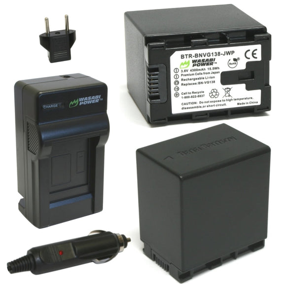 JVC BN-VG138 Battery (2-Pack) and Charger by Wasabi Power