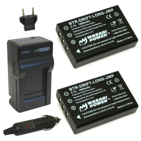 Drift Cameras Battery (2-Pack) and Charger by Wasabi Power