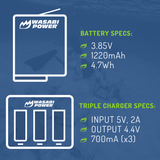 GoPro HERO5/6/7/8, HERO 2018 Battery (2-Pack) and Triple Charger by Wasabi Power