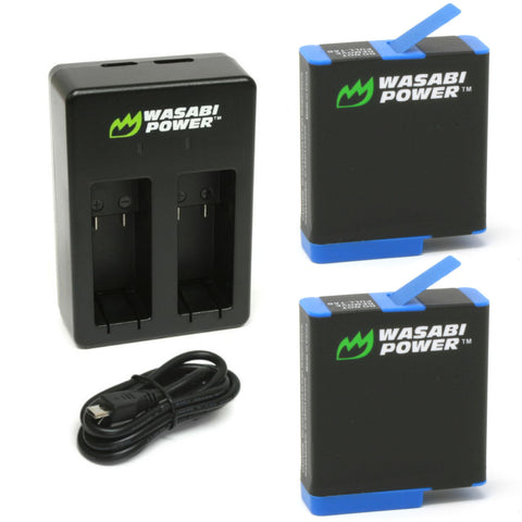GoPro HERO8/7/6/5 Battery (2-Pack) and Dual Charger by Wasabi Power
