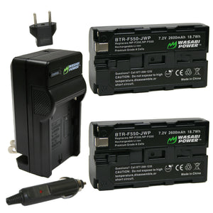 Sony NP-F330, NP-F530, NP-F550, NP-F570, (L Series) Battery (2-Pack) and Charger by Wasabi Power