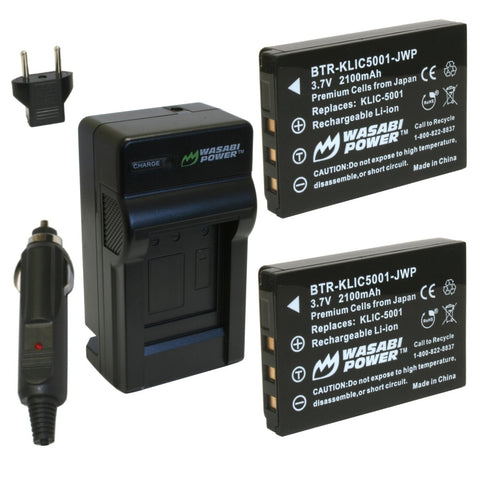 Kodak KLIC-5001 Battery (2-Pack) and Charger by Wasabi Power