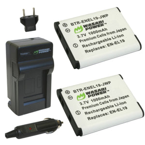 Nikon EN-EL19 Battery (2-Pack) and Charger by Wasabi Power