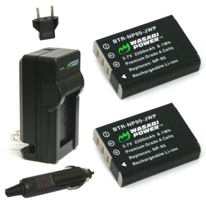 Fujifilm NP-95 Battery (2-Pack) and Charger by Wasabi Power