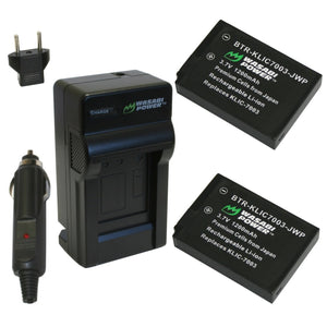 Kodak KLIC-7003 Battery (2-Pack) and Charger by Wasabi Power