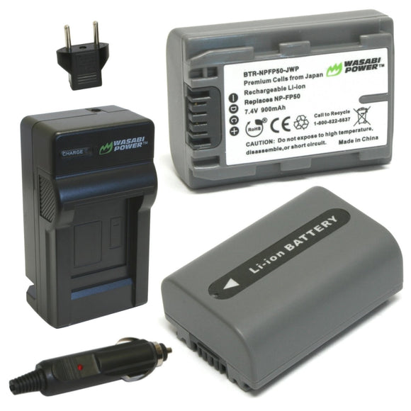 Sony NP-FP30, NP-FP50 Battery (2-Pack) and Charger by Wasabi Power