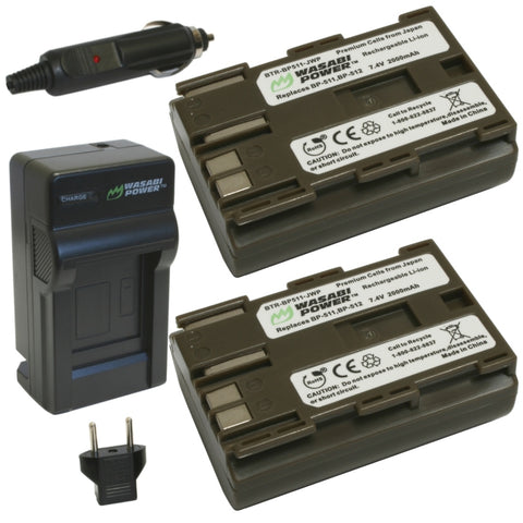 Wasabi Power Battery (2-Pack) and Charger for Canon BP-511, BP-511A