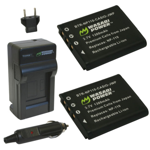 Casio NP-110 Battery (2-Pack) and Charger by Wasabi Power