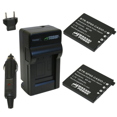 Casio NP-60 Battery (2-Pack) and Charger by Wasabi Power