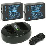 Wasabi Power Battery (2-Pack) and Dual Charger for Panasonic DMW-BLC12, DE-A79, DE-A79B