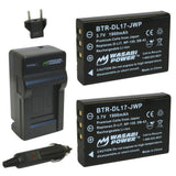 Toshiba Camileo PX1657, PA3791U Battery (2-Pack) and Charger by Wasabi Power