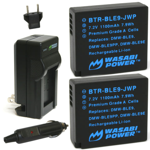 Panasonic DMW-BLE9, DMW-BLG10 Battery (2-Pack) and Charger by Wasabi Power