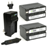 Sony NP-F950, NP-F960, NP-F970, NP-F975 (L Series) Battery (2-Pack) and Charger by Wasabi Power