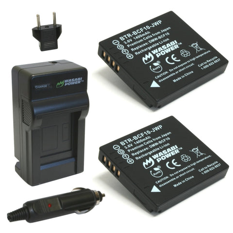 Wasabi Power Battery (2-Pack) and Charger for Panasonic DMW-BCF10, CGA-S/106B