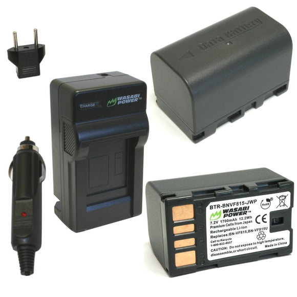JVC BN-VF815 Battery (2-Pack) and Charger by Wasabi Power