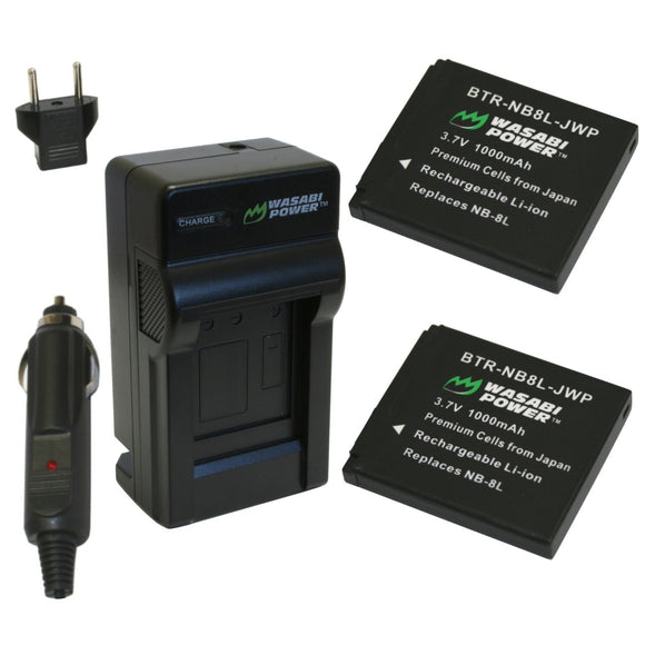 Canon NB-8L Battery (2-Pack) and Charger by Wasabi Power