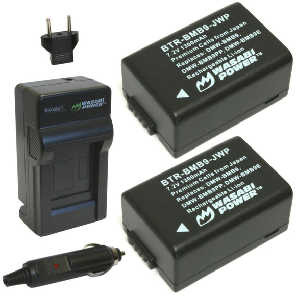 Panasonic DMW-BMB9 Battery (2-Pack) and Charger by Wasabi Power