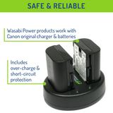 Wasabi Power Battery (2-Pack) and Dual Charger for Canon LP-E6, LP-E6N