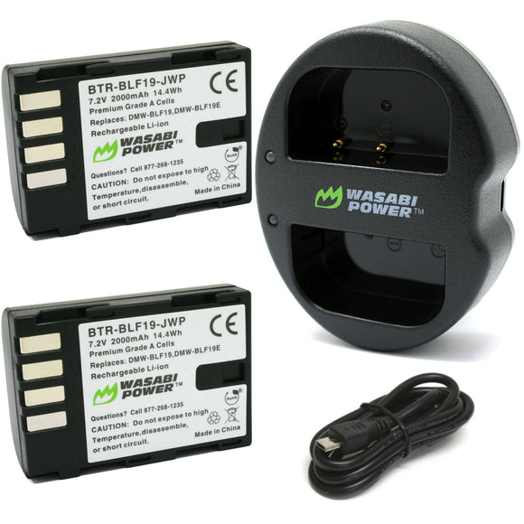 Panasonic DMW-BLF19 Battery (2-Pack) and Dual Charger by Wasabi Power