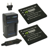 Wasabi Power Battery (2-Pack) and Charger for Casio NP-120