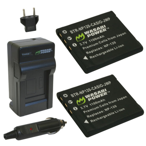Casio NP-120 Battery (2-Pack) and Charger by Wasabi Power