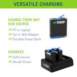 Wasabi Power Battery (2-Pack) and Triple Charger for GoPro HERO8 Black (All Features Available), HERO7 Black, HERO6 Black, HERO5 Black, HERO 2018