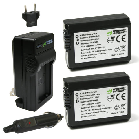 Sony NP-FW50 Battery (2-Pack) and Charger by Wasabi Power