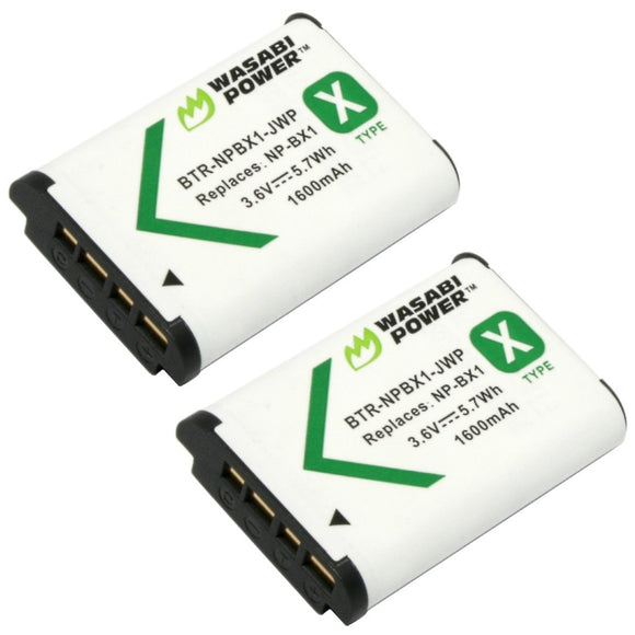 Sony NP-BX1, NP-BX1/M8 Battery (2-Pack) by Wasabi Power