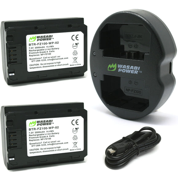 Sony NP-FZ100 Battery (2-Pack) and Dual Charger by Wasabi Power
