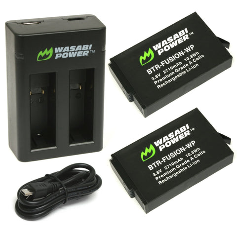 GoPro Fusion Battery (2-Pack) and Dual Charger by Wasabi Power