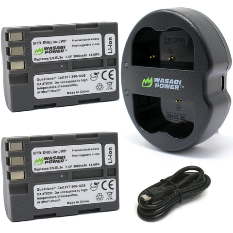 Nikon EN-EL3e, EN-EL3 Battery (2-Pack) and Dual Charger by Wasabi Power