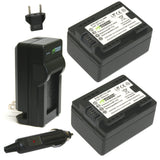 Wasabi Power Battery (2-Pack) and Charger for Canon BP-718