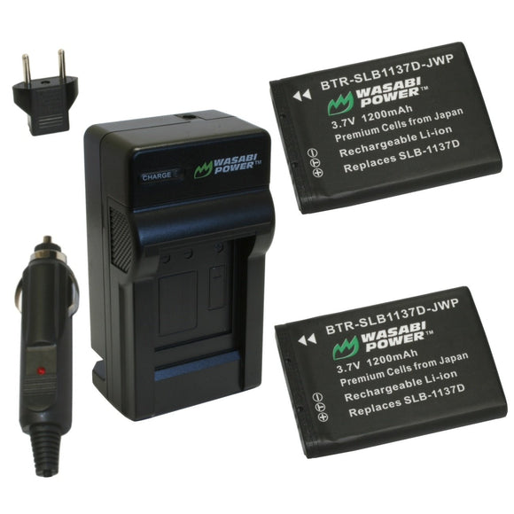 Samsung SLB-1137D Battery (2-Pack) and Charger by Wasabi Power