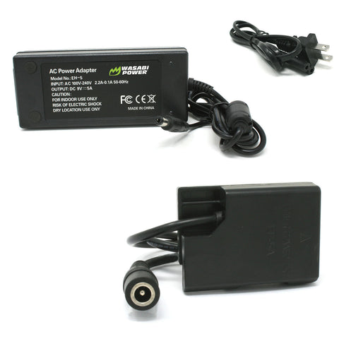 Nikon EN-EL14 AC Power Adapter Kit with DC Coupler for Nikon EP-5A, EH-5, EH-5A by Wasabi Power
