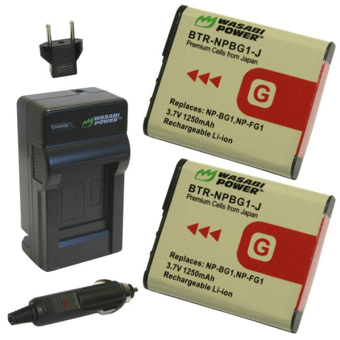 Sony NP-BG1 Battery (2-Pack) and Charger by Wasabi Power