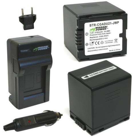 Panasonic CGA-DU21, VW-VBD210 Battery (2-Pack) and Charger by Wasabi Power