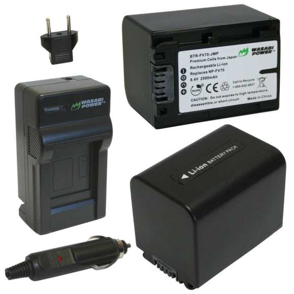 Sony NP-FV70 Battery (2-Pack) and Charger by Wasabi Power