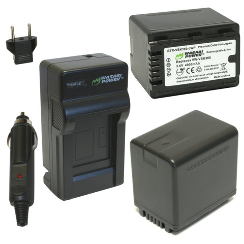 Panasonic VW-VBK360 Battery (2-Pack) and Charger by Wasabi Power